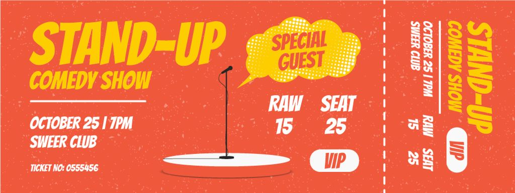 Comedy Show with Microphone on Stage — Crea un design