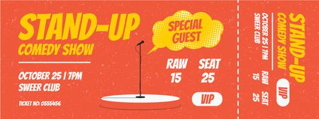 Comedy Show with Microphone on Stage Ticketデザインテンプレート