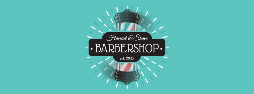 Barbershop Ad with Striped Lamp | Facebook Video Cover Template — Створити дизайн