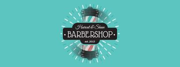 Barbershop Ad with Striped Lamp Facebook Video Cover in Blue