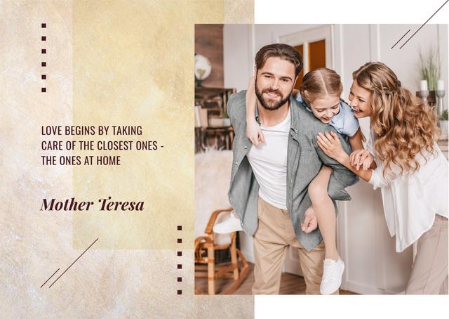 Parents spending time with daughter Postcard Modelo de Design