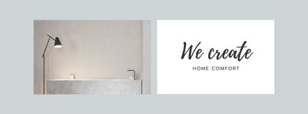 Plantilla de diseño de Cozy Room in white tones Facebook cover