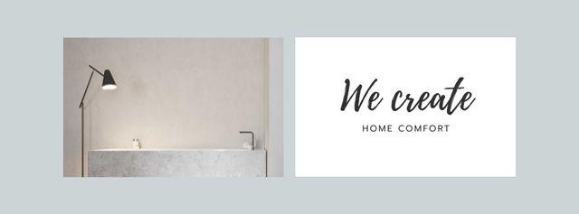 Cozy Room in white tones Facebook cover Modelo de Design