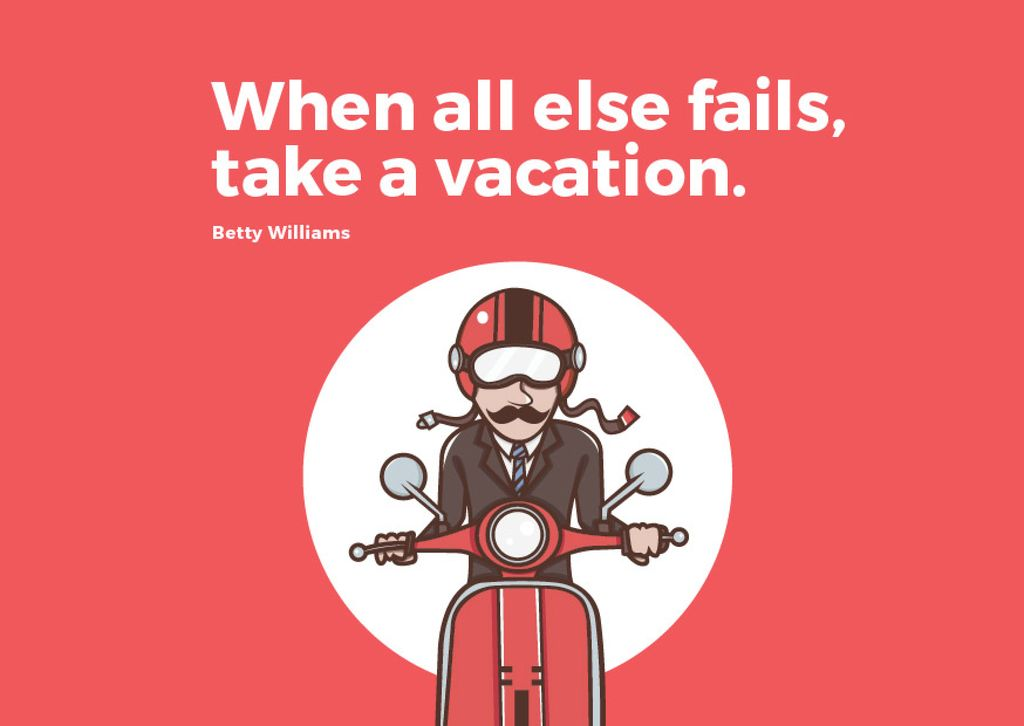 Man going on bike to vacation — Crea un design