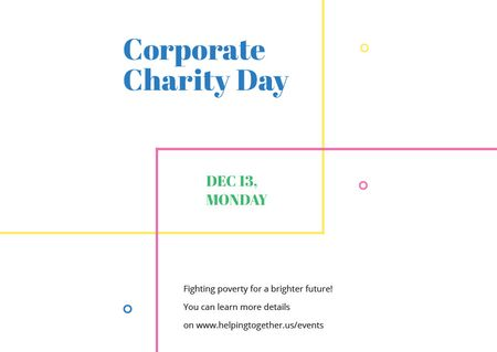 Plantilla de diseño de Corporate Charity Day on simple lines Postcard
