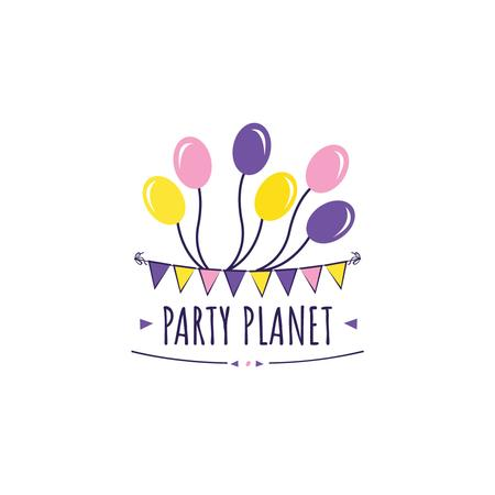 Party Organization Services with Colorful Balloons Logo Tasarım Şablonu