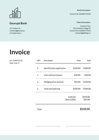 Ontwerpsjabloon van Invoice van Bank Services on White