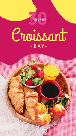 Fresh baked croissants on Croissant Day Instagram Story Modelo de Design