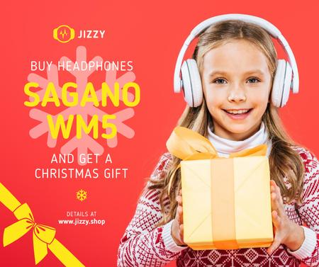 Christmas Offer Girl in Headphones with Gift Facebook Modelo de Design
