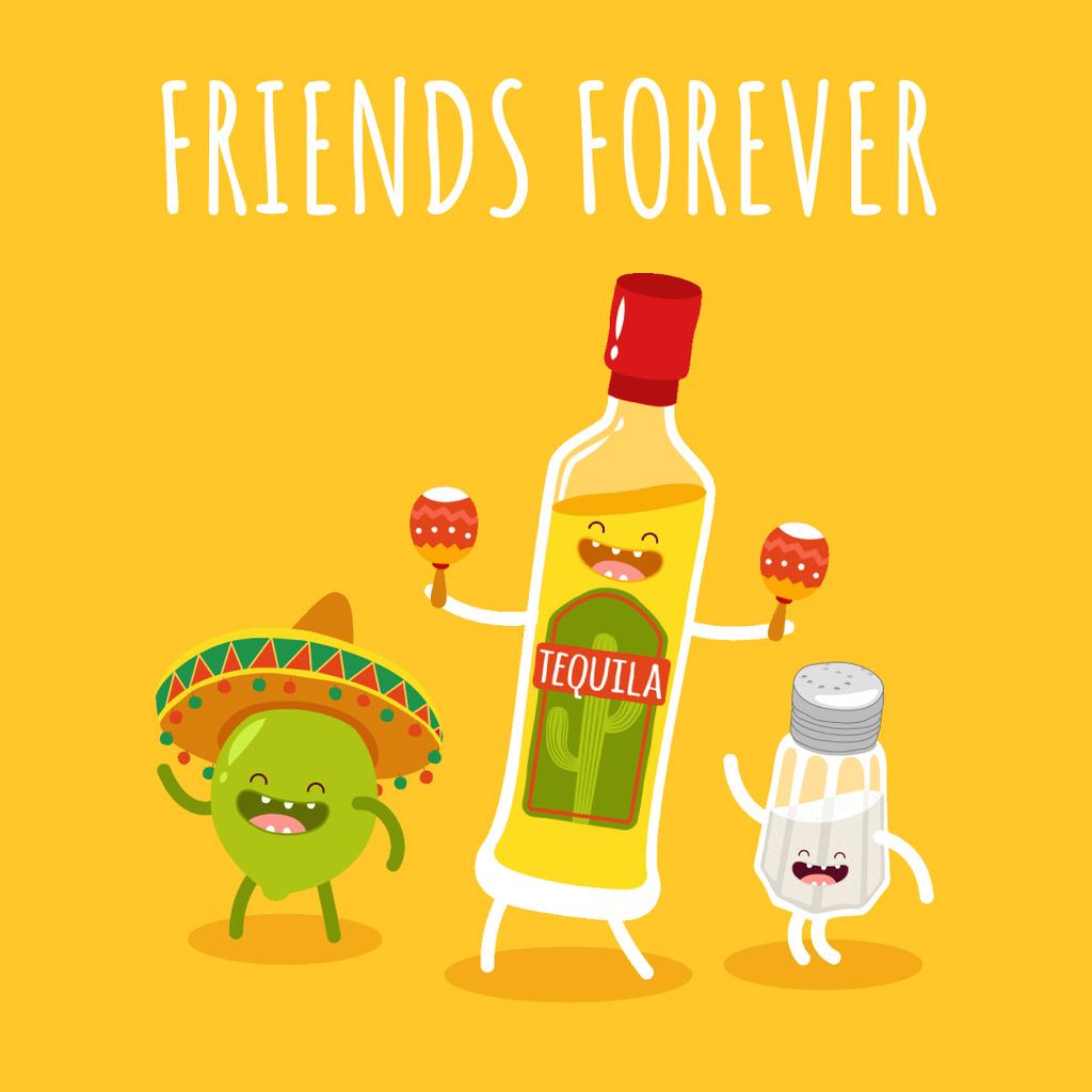 Tequila Dancing with Lime and Salt Characters — Maak een ontwerp