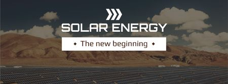 Energy Solar Panels in Desert Facebook cover Modelo de Design