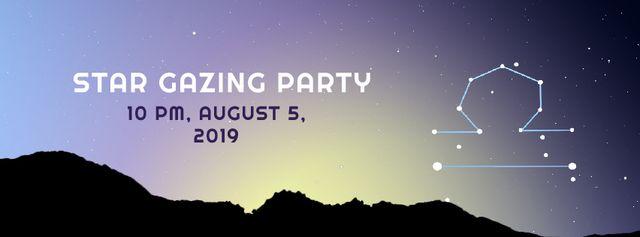 Night sky with Libra constellation Facebook Video cover – шаблон для дизайну