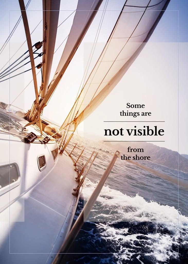 White Yacht in Sea with Inspirational Quote — Maak een ontwerp