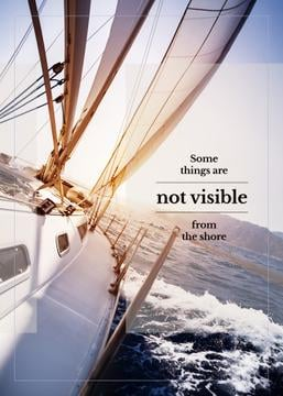 White Yacht in Sea with Inspirational Quote | Flyer Template