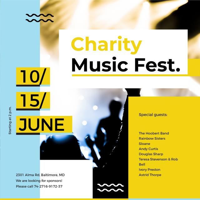 Modèle de visuel Charity Music Fest - Instagram