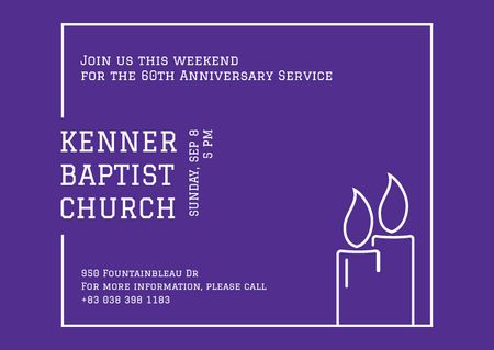 Template di design Baptist Church Ad with Candles Card