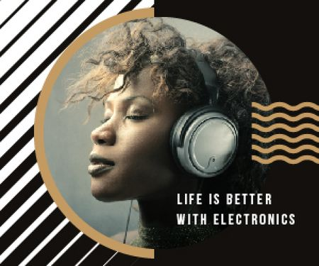 Plantilla de diseño de Electronics Ad Woman Listening Music in Headphones Medium Rectangle