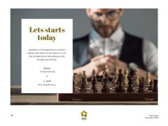 Quote on Chess Table in Front of Businessman