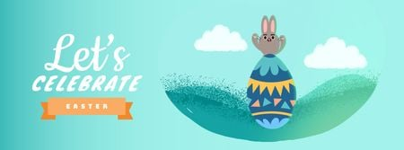Plantilla de diseño de Cute Easter bunny with egg Facebook Video cover