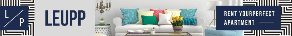 Real Estate Ad Cozy Interior in Bright Colors | Leaderboard Template — Crear un diseño