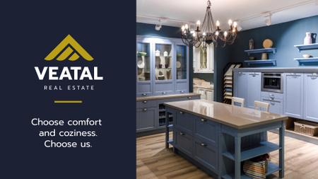 Plantilla de diseño de Kitchen Design Studio Ad with Modern Home Interior Presentation Wide