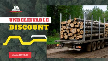 Transportation Services Offer Truck Delivering Logs Full HD video Modelo de Design