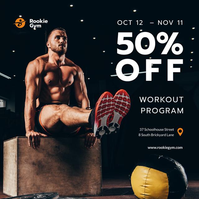 Sportish Man in gym Instagramデザインテンプレート