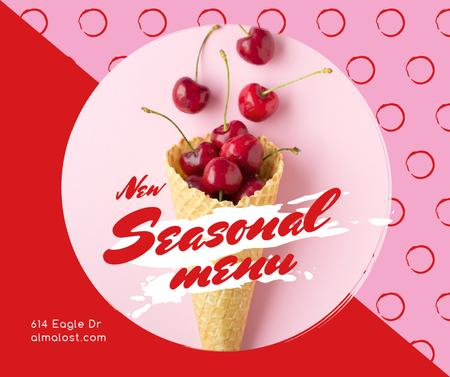 Plantilla de diseño de Red Cherries in waffle cone Facebook