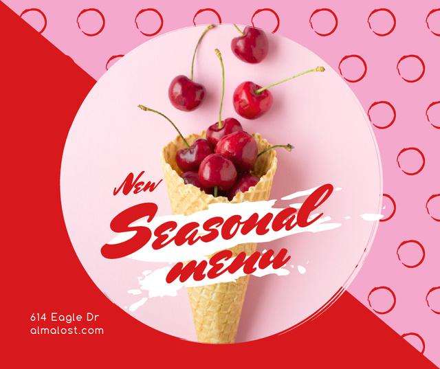 Template di design Red Cherries in waffle cone Facebook