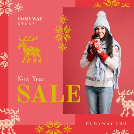 Designvorlage New Year Sale Woman with Takeaway Coffee für Instagram