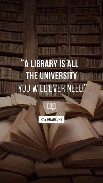 Quote about Library and education on Books Instagram Story Modelo de Design