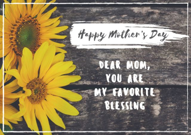 Happy Mother's Day Greeting with Sunflowers Postcardデザインテンプレート