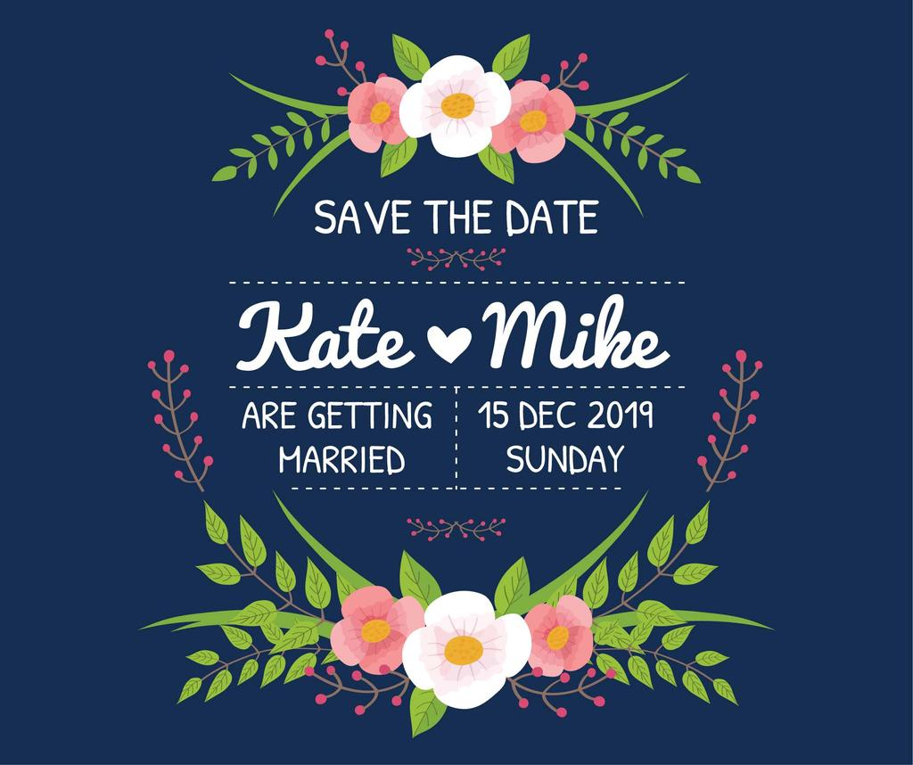 Save the Date Invitation with Floral Frame on Blue | Facebook Post Template — Modelo de projeto