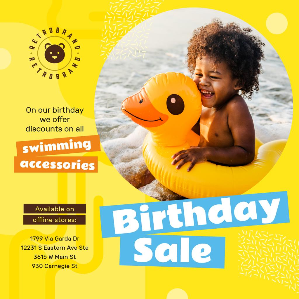 Birthday Offer Kid in Floating Ring in Yellow | Instagram Post Template — Створити дизайн