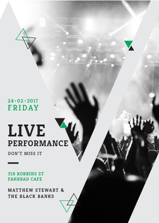 Live Performance Announcement with audience Invitation Modelo de Design