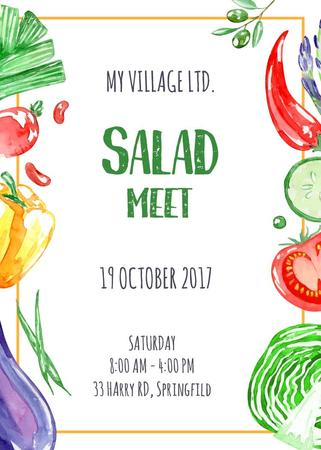 Plantilla de diseño de Salad meet with fresh Vegetables Invitation