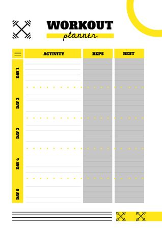 Plantilla de diseño de Workout Planner with Barbells sign Schedule Planner