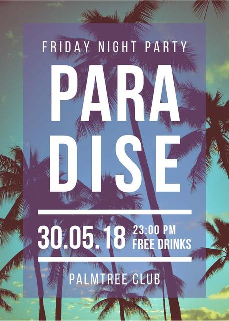Night Party invitation on Tropical Palm Trees Invitation Modelo de Design