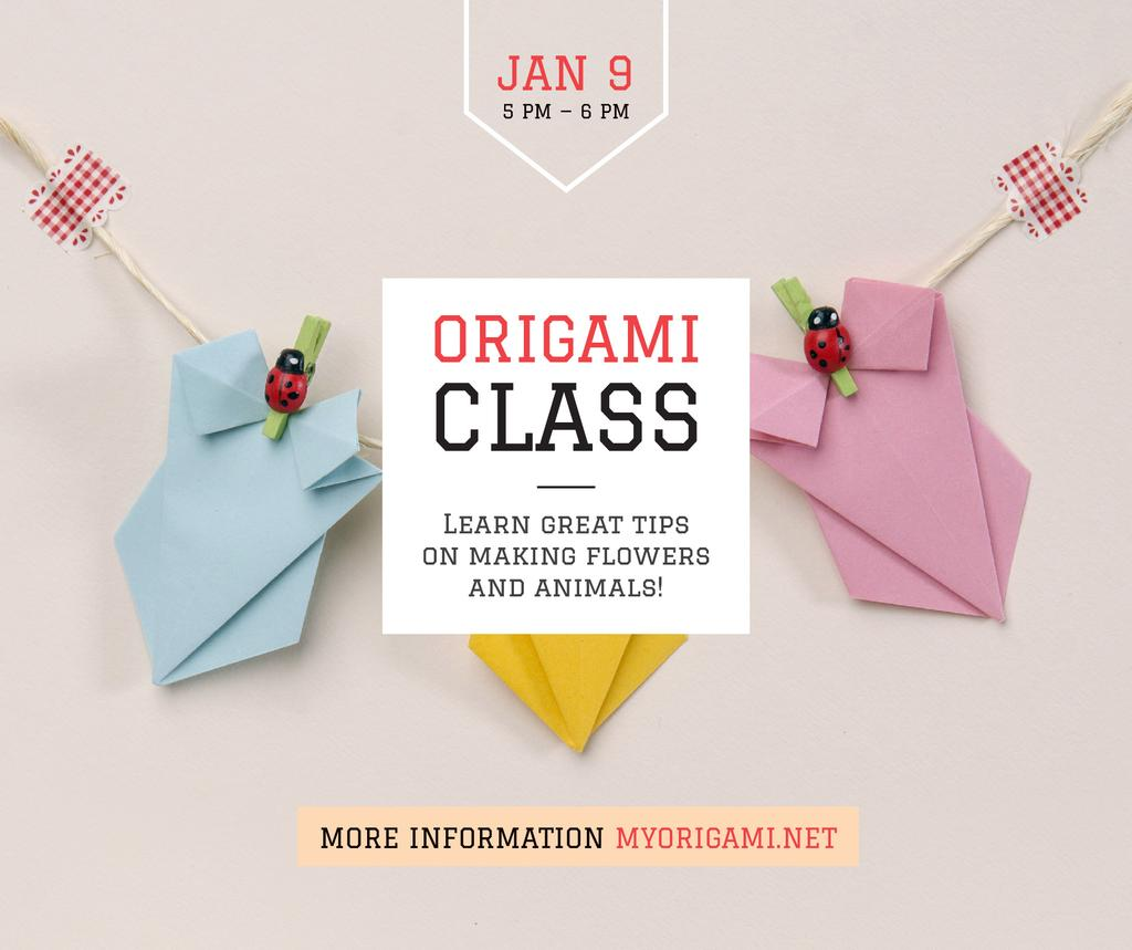Modèle de visuel Origami Classes Invitation Paper Garland - Facebook