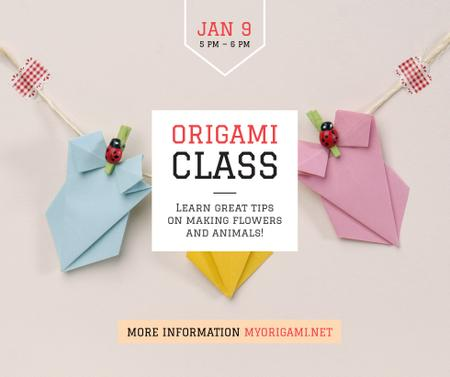 Plantilla de diseño de Origami Classes Invitation Paper Garland Facebook