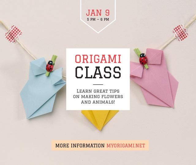 Ontwerpsjabloon van Facebook van Origami Classes Invitation Paper Garland