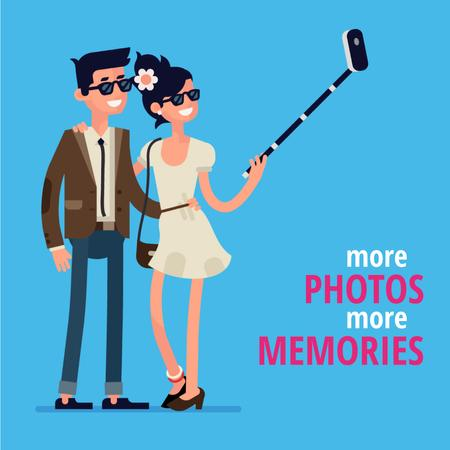 Smiling Couple taking selfie Animated Post Modelo de Design