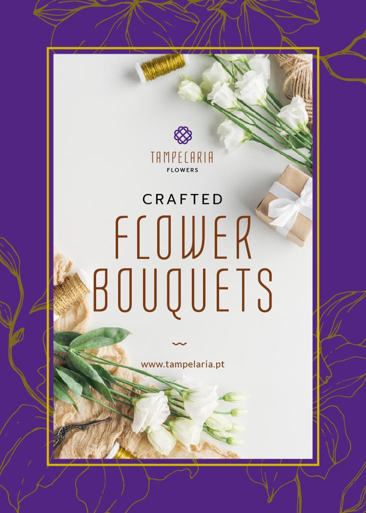 Florist Services Ad White Flowers and Ribbons Flayerデザインテンプレート