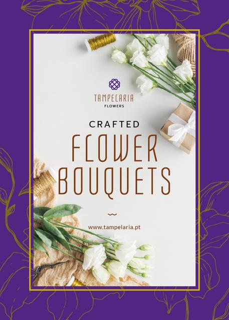 Plantilla de diseño de Florist Services Ad White Flowers and Ribbons Flayer