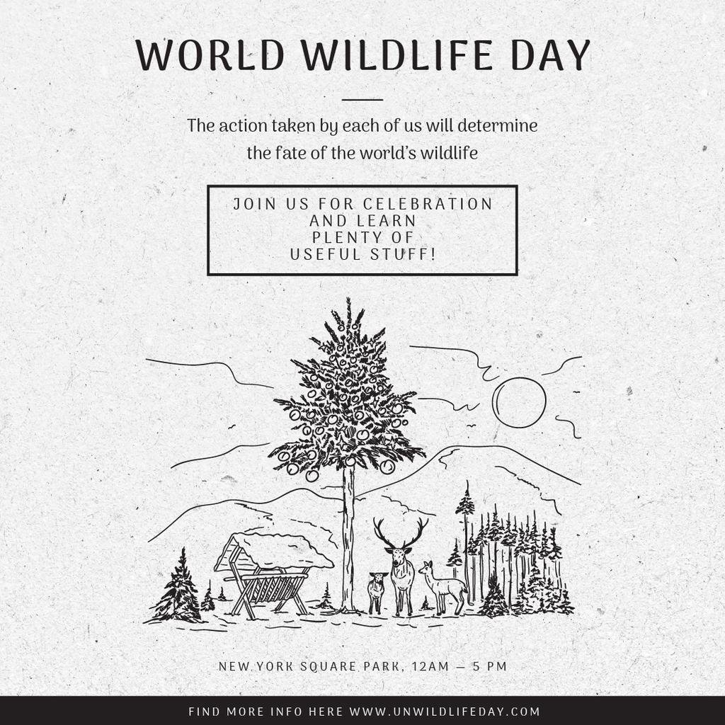 World Wildlife Day Event Announcement Nature Drawing — Crear un diseño