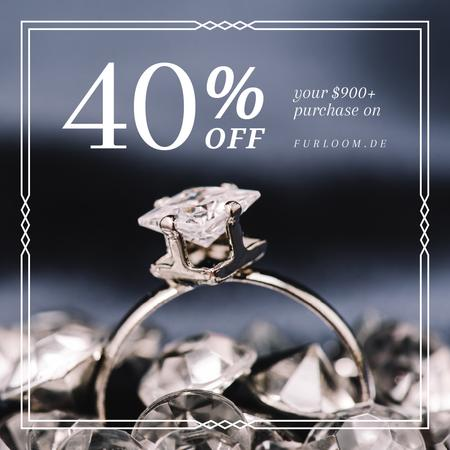 Jewelry Sale Ring with Diamond Instagram Modelo de Design