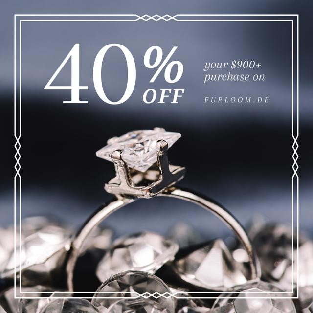 Szablon projektu Jewelry Sale Ring with Diamond Instagram