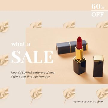 Sale Offer with Red Lipstick