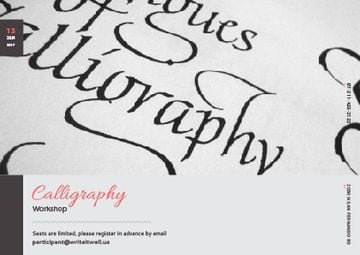 Calligraphy Workshop Announcement Decorative Letters | Postcard Template