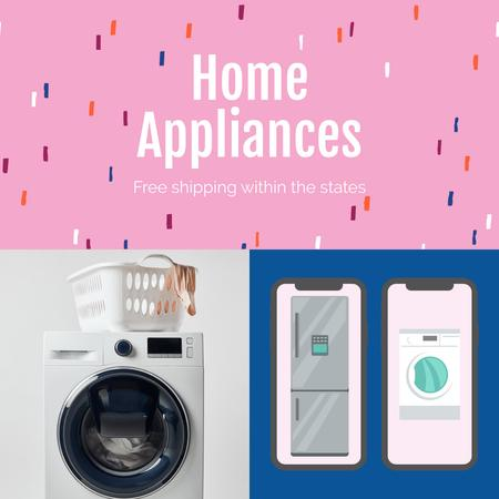 Online Shopping ad with Washing Machine Instagram AD Tasarım Şablonu